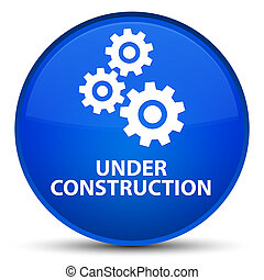 Under construction (gears icon) special blue round button