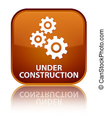 Under construction (gears icon) special brown square button