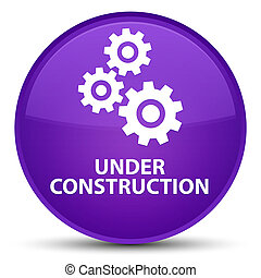 Under construction (gears icon) special purple round button