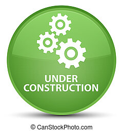 Under construction (gears icon) special soft green round button
