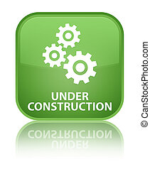 Under construction (gears icon) special soft green square button