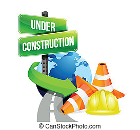 under construction global roads illustration design over white