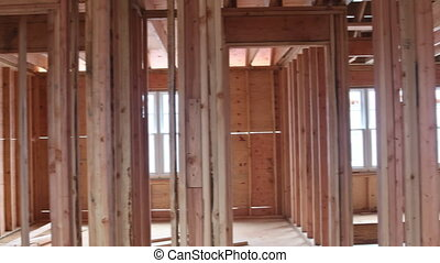 Under construction home framing interior view of house