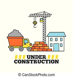 under construction house crane tipper truck and wall brick