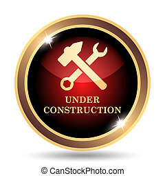 Under construction icon. Internet button on white...