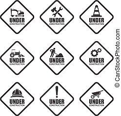 Under construction icons, vector