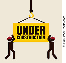under construction design over white background vector...