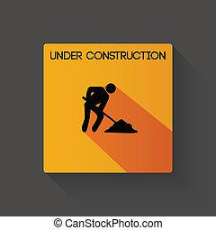 Under construction long shadow illustration
