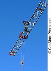 under construction, man at the crane