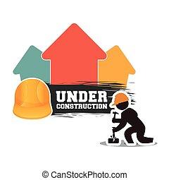 under construction man builder helmet hammer brick