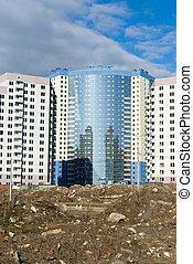 Under construction modern apartment buildings
