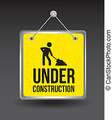 under construction over black background. vector illustration