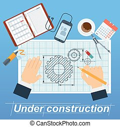 under construction poster with hand