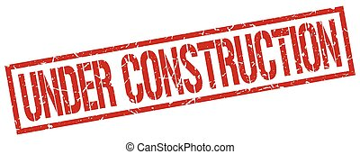 under construction red grunge square vintage rubber stamp