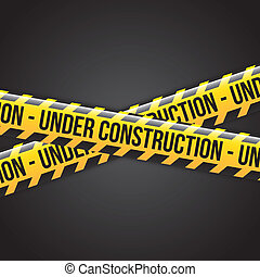 under construction ribbons over black background vector ...