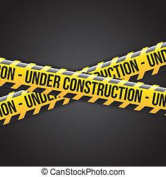 under construction ribbons over black background vector illustration