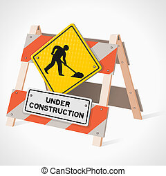Under Construction Road Sign - Road Work Ahead sign as a...