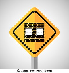 under construction road sign wall brick