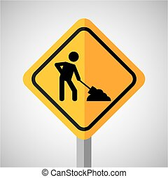 under construction road sign worker