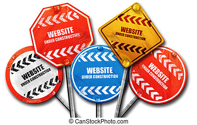 Under construction sign, 3D rendering, street signs