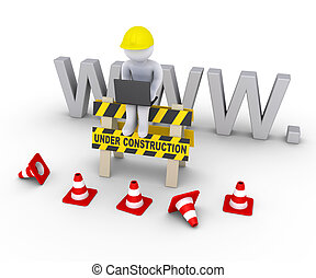 Under construction sign and worker in front of www letters -...