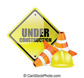 under construction sign illustration design over white