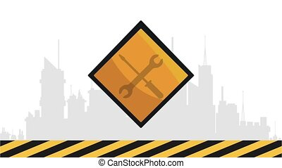 Under construction sign on black and yellow frame
