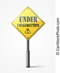 under construction sign on white
