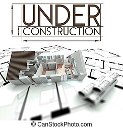 Under construction sign, project of house on blueprints