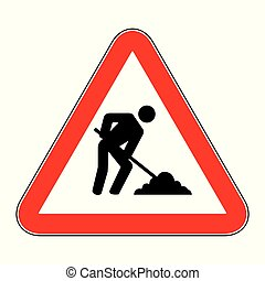 Under construction sign on white background drawing by illustration