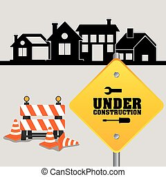 under construction sign with cone barrier traffic and houses
