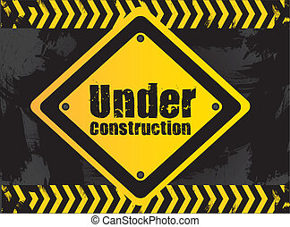 under construction signal  on grunge