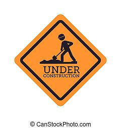 under construction signal road yellow design