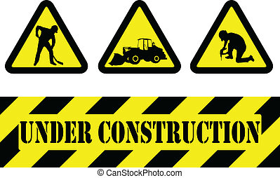 under construction signs - vector