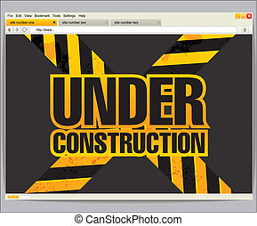 Under construction site template in a browser window