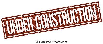 under construction square grunge stamp