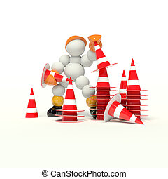 under construction stacking lot cones