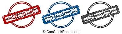 under construction stamp. under construction sign. under construction label set