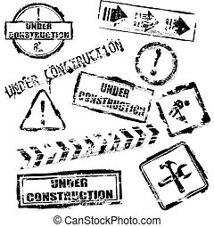 Set of vector black under construction stamps over white