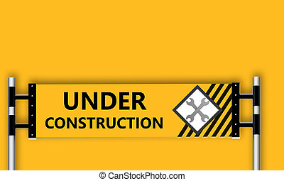 Under construction sign on yellow background