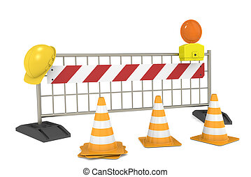 Under Construction - Road block with Cones and Barricade