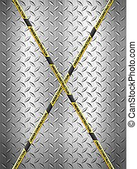 Under construction tape on metal background