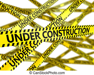 under construction tape - 3d illustration of yellow tape...