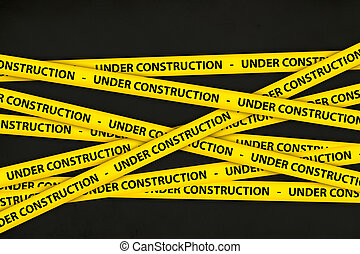 Under Construction Tape - Yellow caution tape strips with...