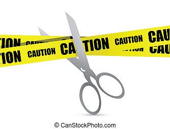 under construction tape with scissor illustration design over white