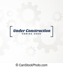 under construction text with gears