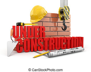 Under construction. Tools, hardhat and wall. 3d