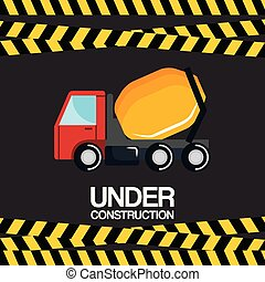 under construction truck mixer vehicle poster