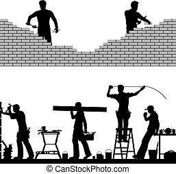 Two editable vector foreground design elements of builders and bricklayers