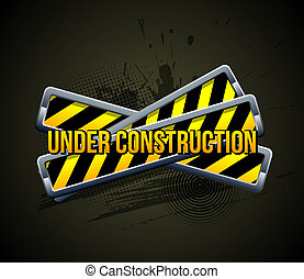 Under construction. Color Icon on Grunge Background.